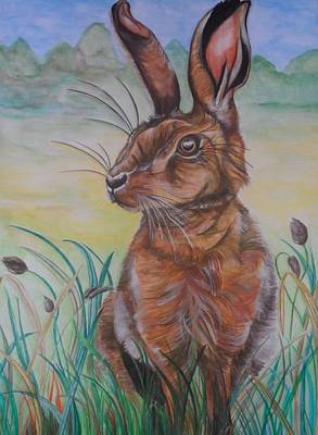March Hare Painting - Monty by Clare Shaw