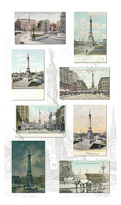 Crowd Scene Mixed Media - Monument Circle Collage Indianapolis Indiana by Thomas Keesling