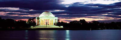 Storm Clouds Sunset Twilight Water Photograph - Monument Lit Up At Dusk, Jefferson by Panoramic Images
