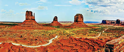 Monument Valley Mittens Courthouse Panorama Original by Bob and Nadine Johnston