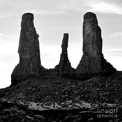 Three Sisters Digital Art - Monument Valley Three Sisters Formation Square Format Black And White Conte Crayon Digital Art by Shawn O'Brien
