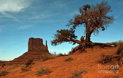 Scenic Landscape Photograph - Monument Valley Tree And Monolith Scenic Landscape Black And White Poster Edges Digital Art by Shawn O'Brien