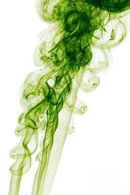 Angels Smoking Painting - Mood Colored Abstract Vertical Green Smoke Wall Art 01 by Alexandra K