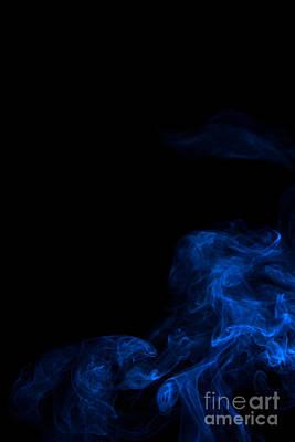 Abstract Vertical Paris Blue Mood Colored Smoke Art 02 Print by Alexandra K