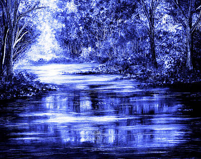 River Painting - Moody Blue by Ann Marie Bone