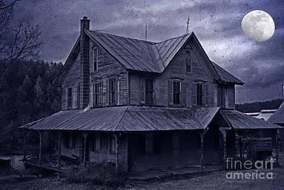 Moody Moonlit Mansion Print by John Stephens