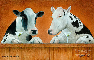 Moomoos And Martinis... Print by Will Bullas