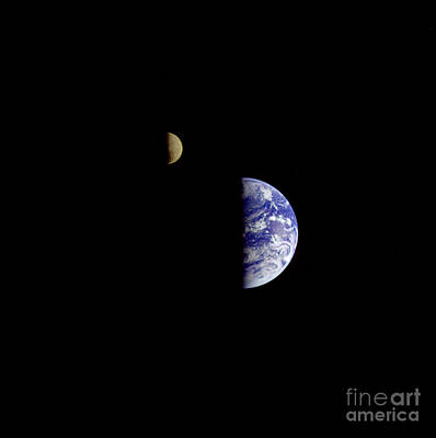 Heavenly Body Photograph - Moon And Earth by Science Source