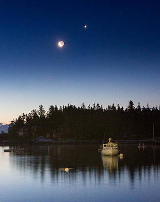 Mid-coast Maine Photograph - Moon And Venus Over Five Islands by Benjamin Williamson