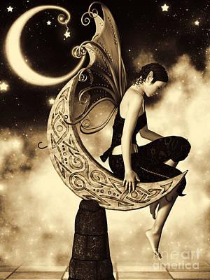 Goblin Digital Art - Moon Fairy Sepia by Alexander Butler