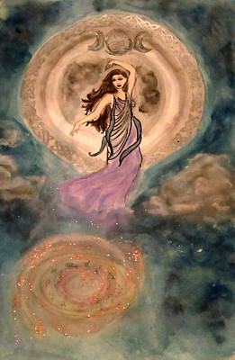 Goddess Mythology Mixed Media - Moon Goddess by Jennie Hallbrown