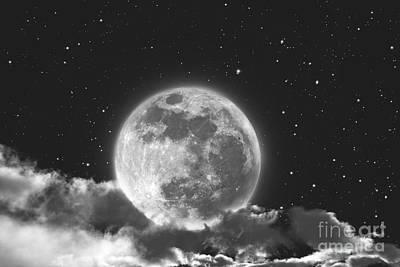 Cloudscape Digital Art - Moon In Cloud by Aleksey Tugolukov