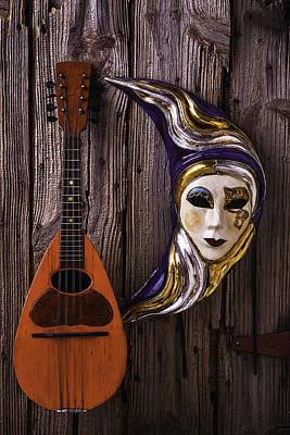 Moon Mask And Mandolin Print by Garry Gay