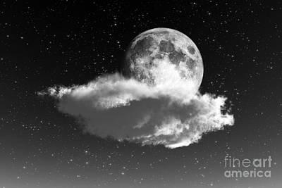 Cloudscape Digital Art - Moon On Cloud by Aleksey Tugolukov