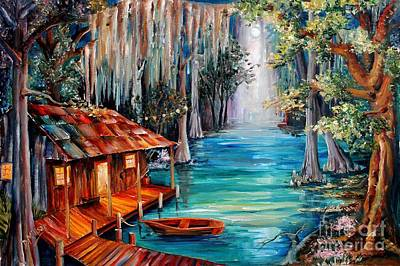 Canoes Painting - Moon On The Bayou by Diane Millsap