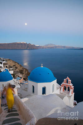 Greek Icon Photograph - Moon Over Blue Domed Church In Oia Santorini Greece by Matteo Colombo