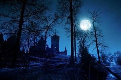Moonlit Night Photograph - Moon Over Drachenfels Castle by Detlev Van Ravenswaay