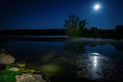 Moon Photograph - Moon Over Lake by Alexey Stiop