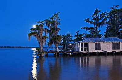 Andy Crawford Photograph - Moon Over Lake Verret by Andy Crawford