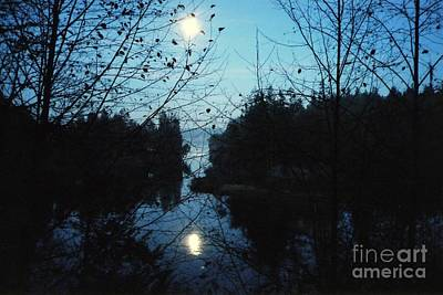 Moon Over Mill Creek By Steve Strand Print by Patricia Strand