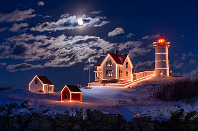 Winter Light Photograph - Moon Over Nubble by Michael Blanchette