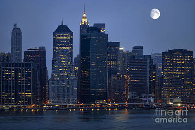 Moon Over Nyc Skyline Print by Sabine Jacobs