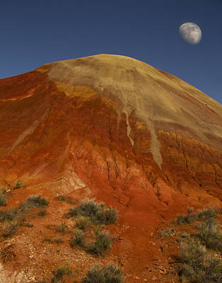 Luna Photograph - Moon Over Painted Hills by Jean Noren