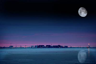 Snowy Night Photograph - Moon Over Prudhoe Bay by Chris Madeley