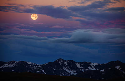 Moon Over Rockies Print by Darren  White
