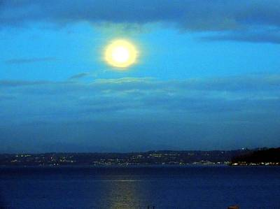 Moon Over Seattle Print by Keith Rautio