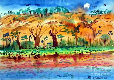 Cockatoo Drawing - Moon Over The Kimberley Australia by Roberto Gagliardi