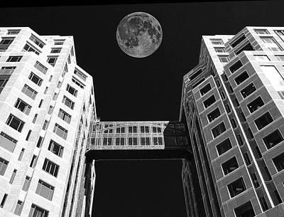 Moon Over Twin Towers Print by Samuel Sheats