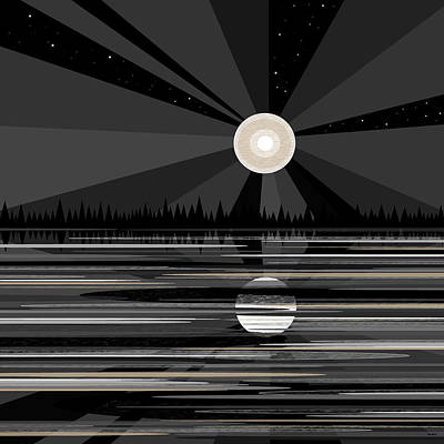 Moon Beams Digital Art - Moon Rise - Black And White by Val Arie