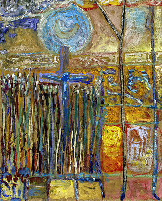 Moon Rising Above The Cross Amongst The Corn 1914-18 Original by Tim Smith