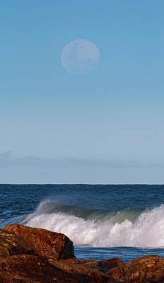 Moon Rising Over The Sea Print by Luis Argerich
