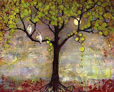 Moon River Tree Owls Art Original by Blenda Studio
