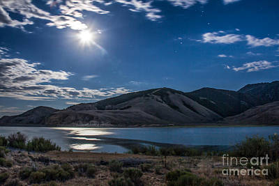 Moon Setting Over Reservoir Print by Robert Bales