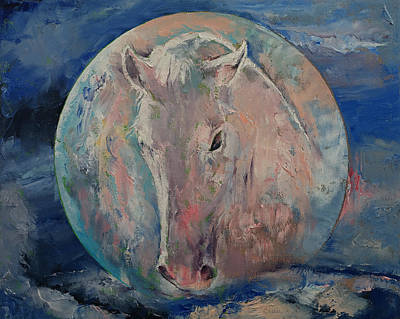 Medieval Painting - Moon Stallion by Michael Creese