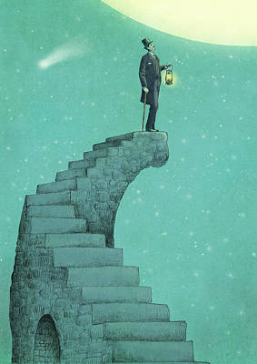Staircase Drawing - Moon Steps by Eric Fan