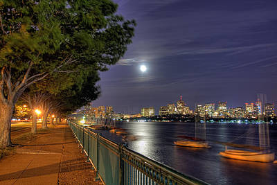 Moonglow Over Boston Print by Joann Vitali