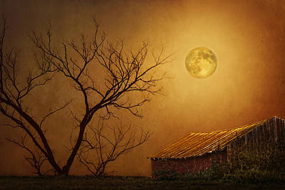 Old Barns Digital Art - Moonglow Over Polenz Ranch by Nikolyn McDonald