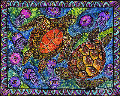 Green Sea Turtle Painting - Moonjelly Dance by Melissa Cole