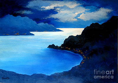 Disney Artist Painting - Moonlight And Jewels  by Shasta Eone