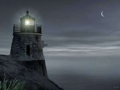 Moonlight At Castle Hill Print by Lourry Legarde