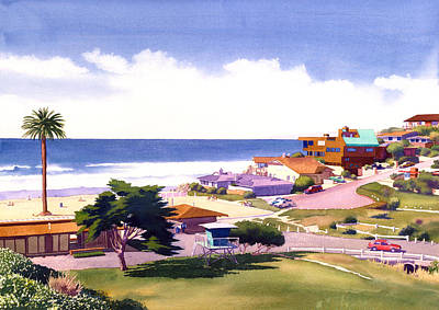 Lifeguard Painting - Moonlight Beach And Cypress by Mary Helmreich