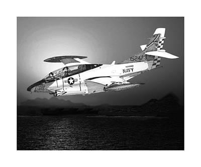 Us Navy Drawing - Moonlight Buckeye T 2c Training Mission by Jack Pumphrey