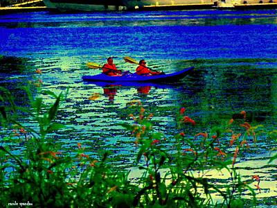 Canoeist Painting - Moonlight Kayak Ride Along The Coastline Of The Lachine Canal Quebec Sea Scenes Carole Spandau by Carole Spandau