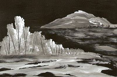 Snowscape Painting - Moonlight Mountain by Ginger Lovellette