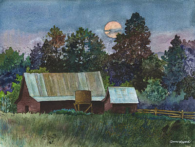 Old Barns Painting - Moonlight Over Caribou by Anne Gifford