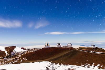Keck Photograph - Moonlight Star Trails Above Mauna Kea 2 by Jason Chu